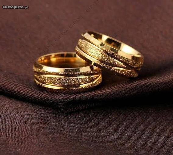 Alianças Banhado A Ouro De Aço Inoxidável + Caixinha+ Brinde