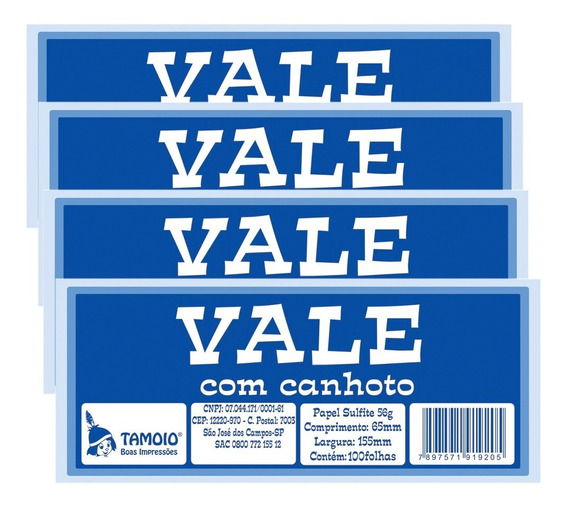Vale Com Canhoto 100 Folhas Pt 20 - Tamoio