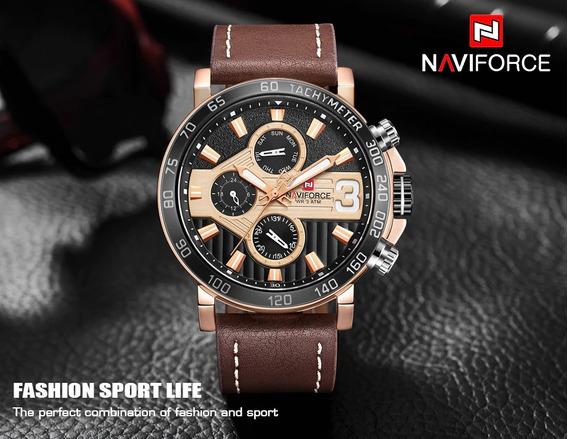 Relógio Masculino Militar Couro Esportivo Original Nf9137rgb