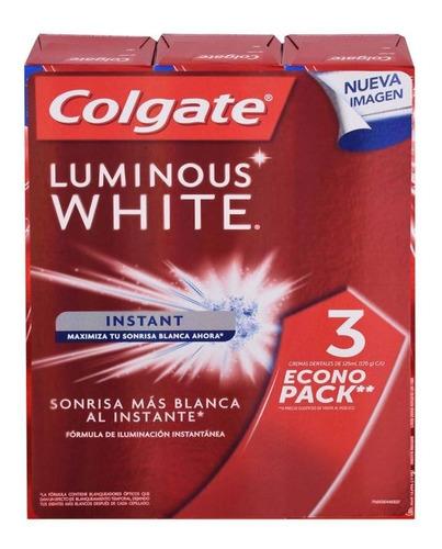 Imagen 1 de 4 de Pasta Dental Colgate Luminus White Con Flúor 3 Pzas De 1