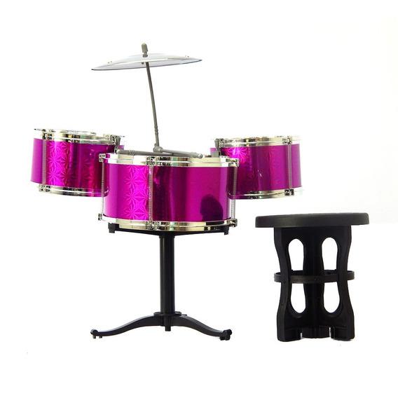 Instrumento Musical Bateria Infantil De Brinquedo Rosa
