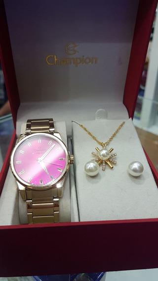 Relógio Champion Feminino - Cn27590j (com Colar E Brincos)