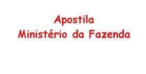Apostila Ministério Da Fazenda