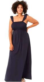 Vestido By Forever 21 Largo Seda Fría Azul Marino 2x