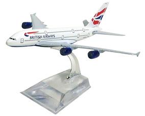 Avião Comercial British Airways Airbus A380 Metal Miniatura