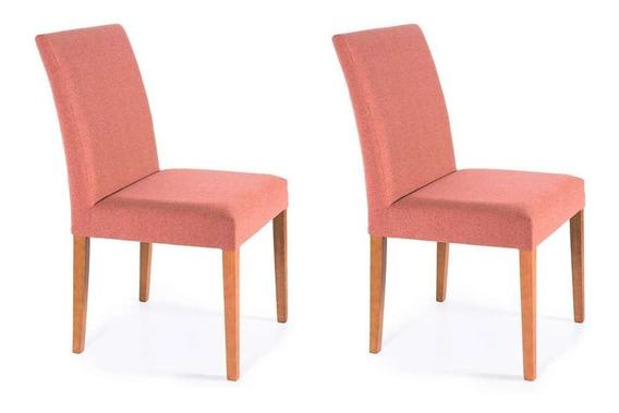 Conjunto Com 2 Cadeiras De Jantar Sky Rosa Retrô E Castanho