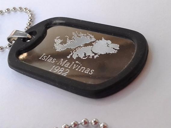 Chapita Tipo Militar Dog Tag C Silicona Protectora Malvinas
