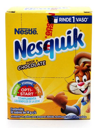 Nesquik Chocolate Polvo Con 10 Piezas De 14 Gr