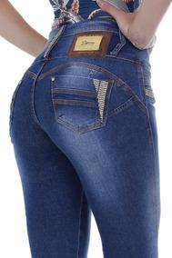 Calça Jeans Com Enchimento Zigma Strass Skinny Azul