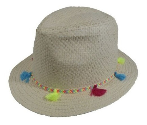 Sombrero Con Detalle De Cinta Y Flecos H-117