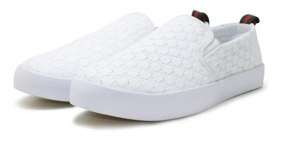 Tênis Gucci Slip On Couro Branco Lançamento + Frete Grátis