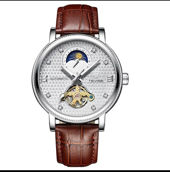 Relógio Masculino Automático Couro Oferta Luxo C.107