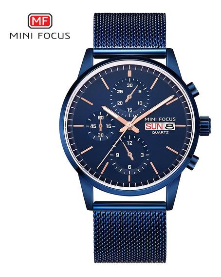 Mini Focus Mf0180g Homens Relógio Quartzo Aço Inoxidável
