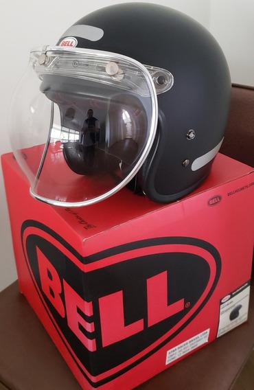 Capacete Bell Custom 500 Aberto Viseira Bolha Preto Fosco