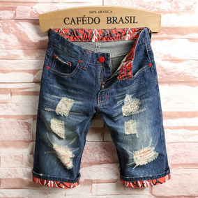 Bermuda Masculino Jeans Detalhes Rasgado Lindas