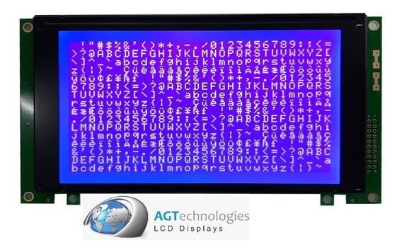 Display Gráf. 240x128 - Fd. Azul - Backlight De Leds Branco