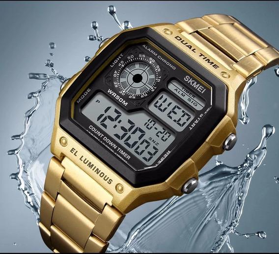 Relógio Skmei Dourado Digital Resistente A Água Até 50m