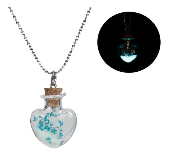 Collar Botella Corazón Vidrio Y Cadena Color Plateado