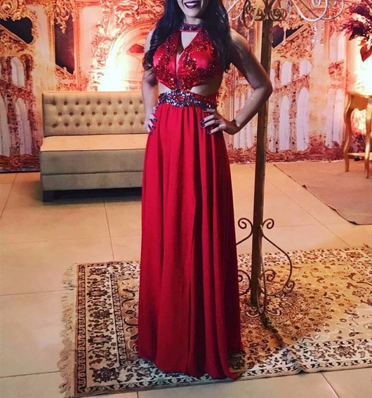 Vestido Vermelho Bordado