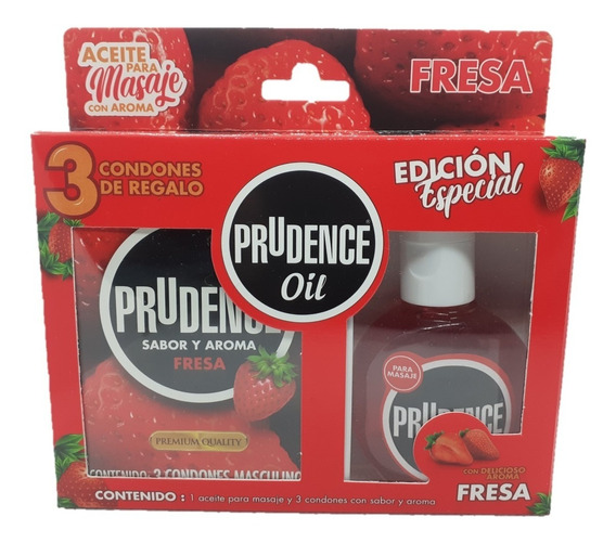 3 Condones Prudence De Fresa + Aceite Para Masaje Comestible
