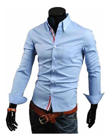 Camisa Caballero Juvenil Slim Fit Moda Casual Formal Vestir