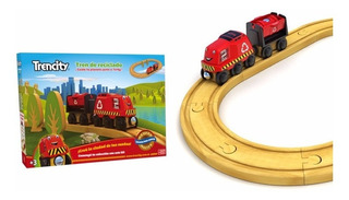 Trencity Kit Inicial Rojo Tren De Madera Original Educando