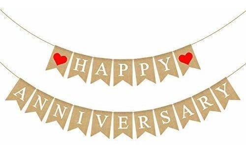 Rainlemon Yute Arpillera Feliz Aniversario Banner Fiesta Bun