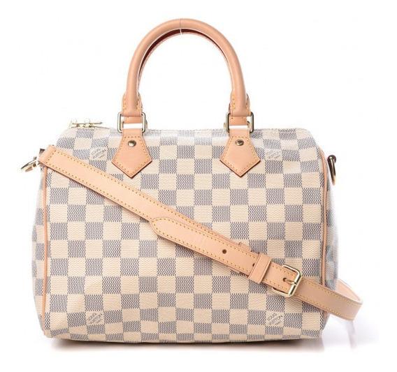 Speedy 25 Damier Azur Bandouliere Louis Vuitton Couro Legítimo Premium Top C Código Série Acompanha Dust Bag Enivo 24 Hr