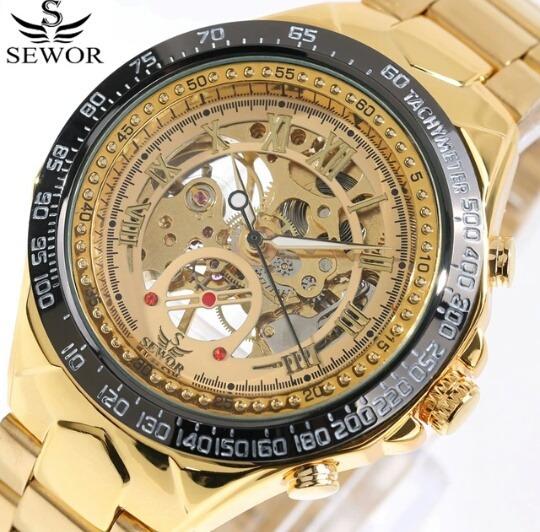 Relógio Sewor Mecânico Esqueleto Dourado