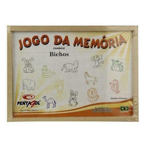 Jogo Da Memória Dos Bichos - Em Madeira - 24 Peças