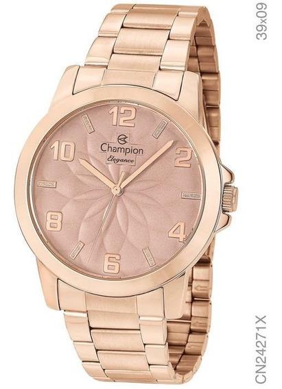 Relógio Rosê Champion Feminino Cn24271x - Nfe, Original