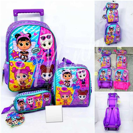 Kit Mochila De Rodinha Escolar Infantil Ladies Party 3 Itens