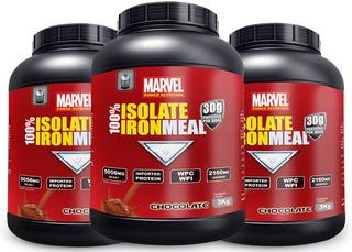 100% Iron Meal Whey 3kg- 3 Unid+ Creatina 150g Liquida Fgts!