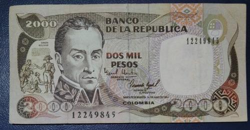 Imagen 1 de 2 de Billete Colombiano Antiguo De 2.000, Año 1994