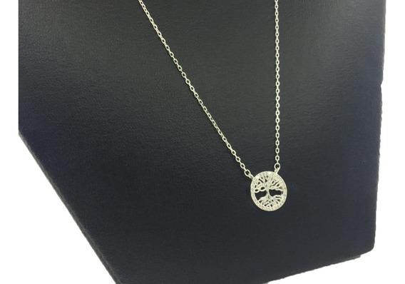 Collar Arbol De La Vida Plata Ley925 Con Piedras De Zirconia