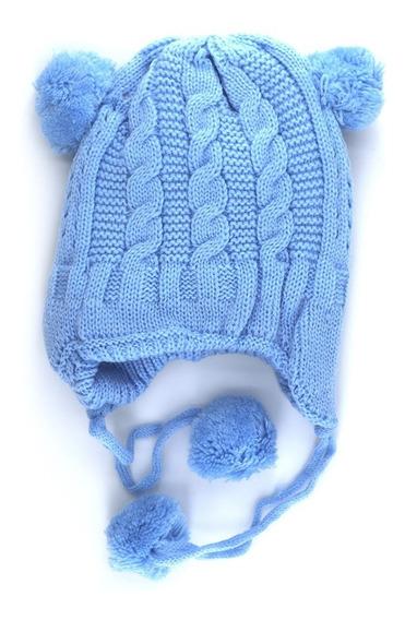 Gorro Tejido Coya Con Pompones Para Bebes. Art: 240185