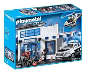 Playmobil - Posto Policial Com Heliponto, Carro De Polícia E