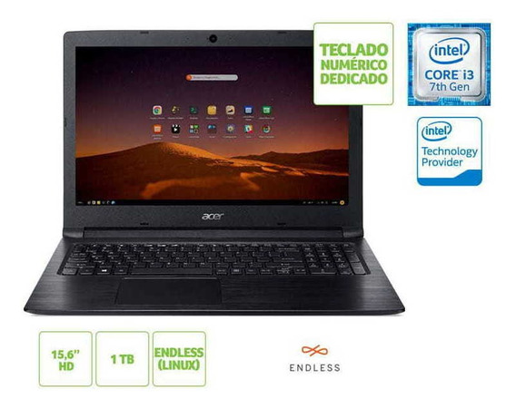 Notebook Acer A315-53-343y I3 7020u 4gb 1tb Linux 15.6 Hd Pt