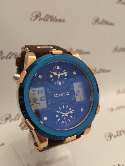 Relógio Masculino De Pulso Boamigo Pulseira Silicone K4063