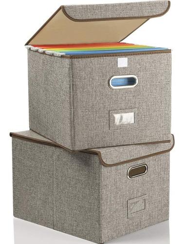 Imagen 1 de 6 de Caja De Archivos Plegable Con Tapa  Paquete De 2  Organizado