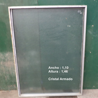 Paño Fijo De Aluminio Natural-con Vidrio Armado-1,10x1,46