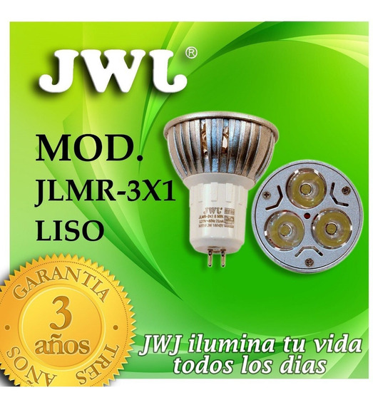 Foco Led Dicroico Mr16 Liso 3w - Luz Calida (15 Pieza) Jwj