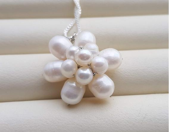 Corrente Pingente Flor Pérolas Verdadeiras Naturais Brancas