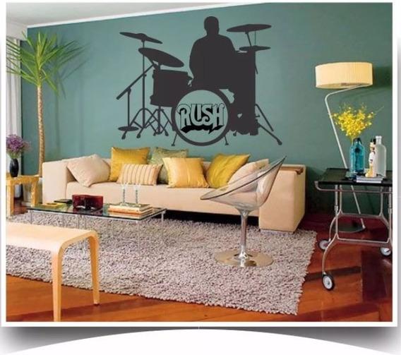 Adesivo De Parede Baterista Banda Rush Rock Bateria + Brinde
