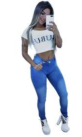 Calça Jeans Modeladora Roupas Femininas Azul Claro Barata