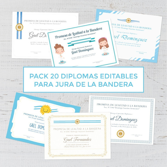 Kit De Diplomas Para La Jura De Bandera Imprimible Editable