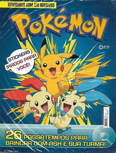 Imagem 1 de 5 de Revista De Atividades Com 120 Adesivos - Pokémon