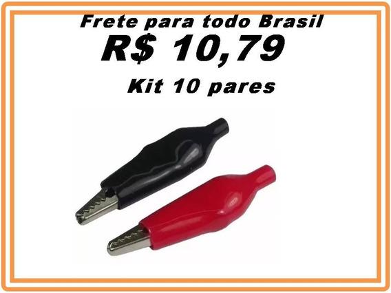 Garra Jacaré Mini 35mm Kit 20pcs Vermelha Preta 10 Pares