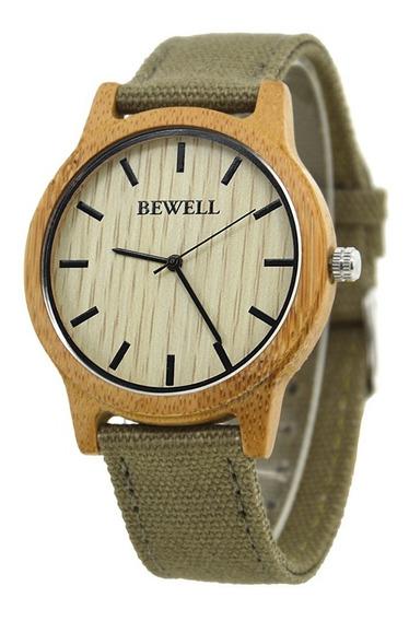 Relógio Madeira Bewell Original Cor Cáqui Bambu Unissex