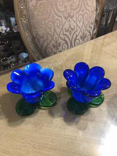 Par De Portavelas De Murano Flor Azul Y Hojas Verdes